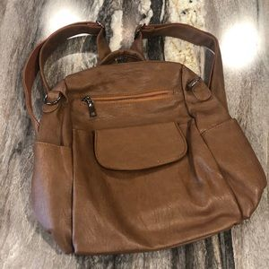 Women's leather backpack purse